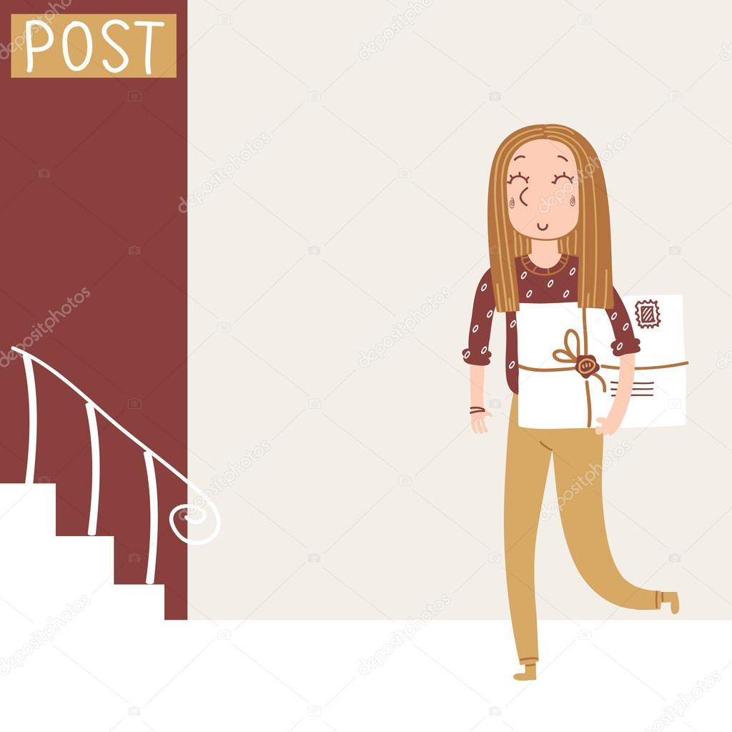Girl goes to the post office to send a large letter