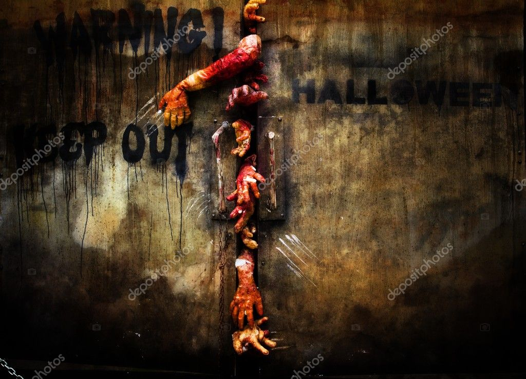 Zombie hand through the door, useful for some Halloween concept