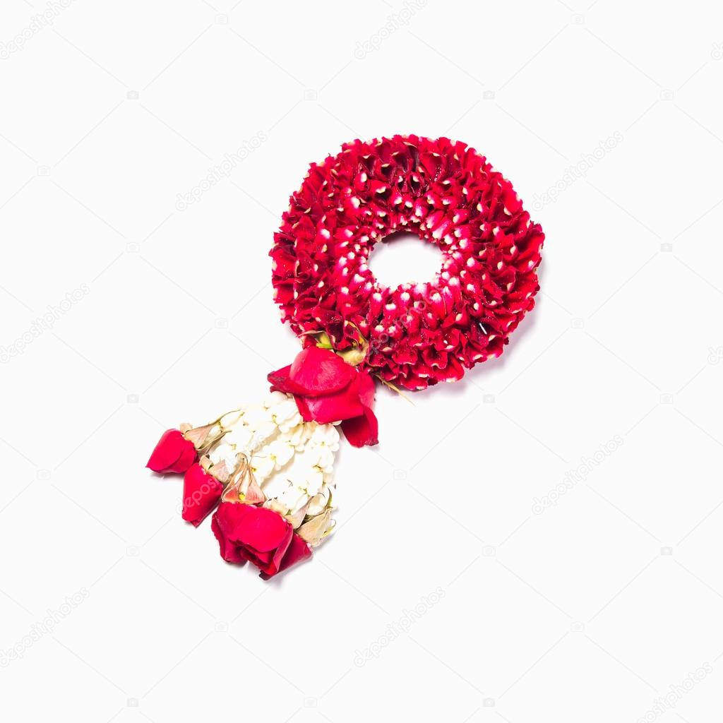 Thai style garland made of rose petals isolated on white b