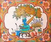 Art Chinese style painting on the temple wall,Thailand.Generalit