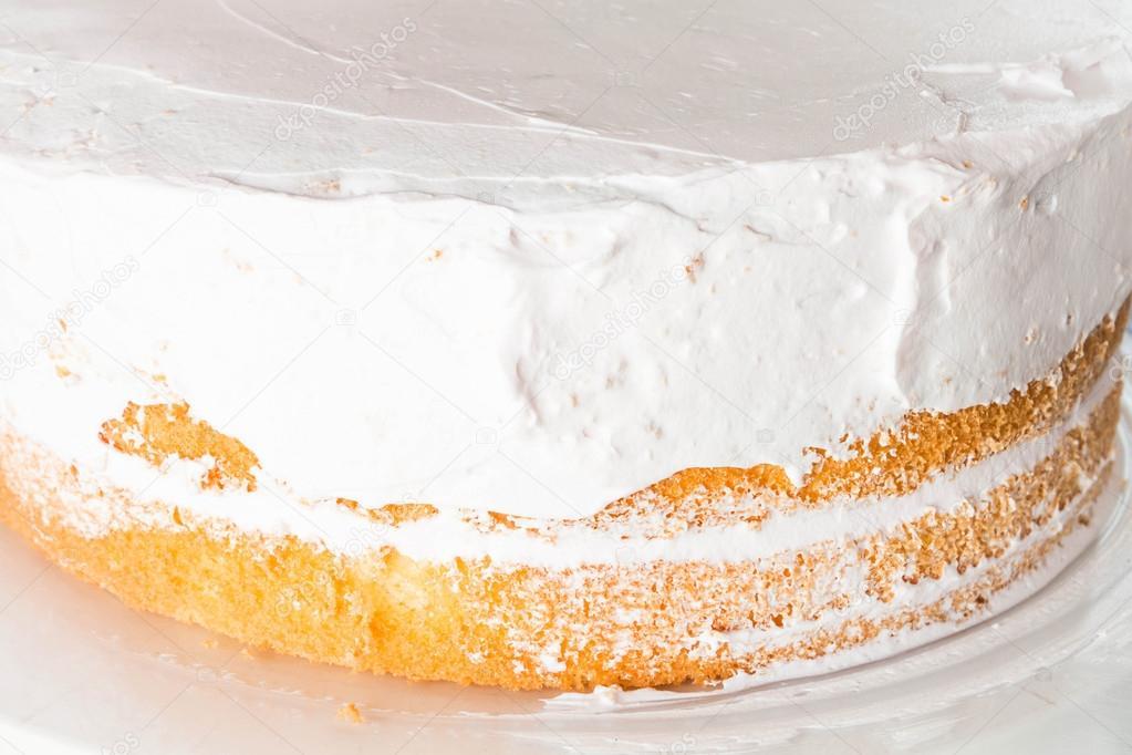 Vanilla sponge cake decorate with whipped cream