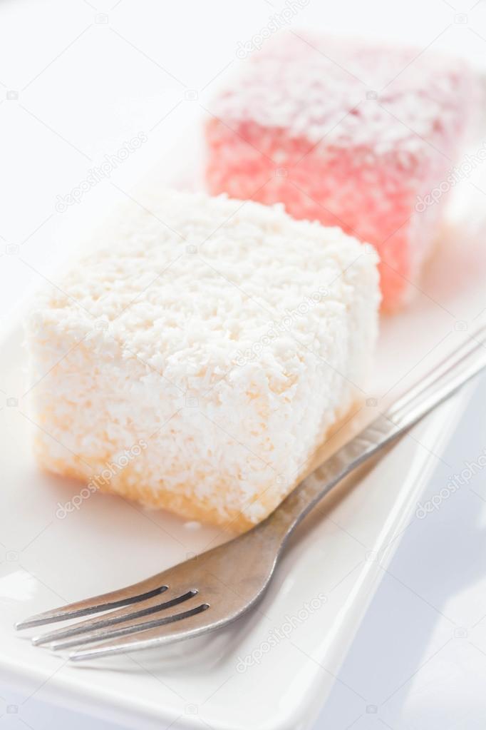 Close up lamington sponge cakes and fork