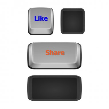 Like and share keyboard buttons on white background
