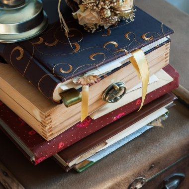 Old Vintage Albums with photos, bookmark and dry plants