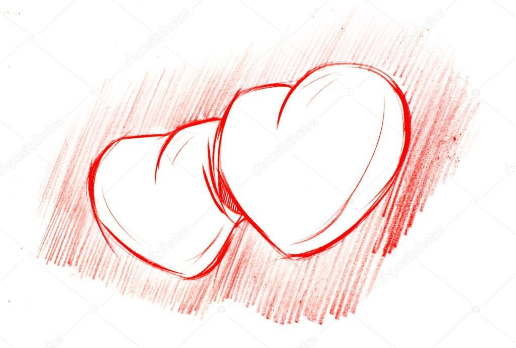 Cervene Srdce Izolovanych Na Bilem Kresleni Tuzkou Stock