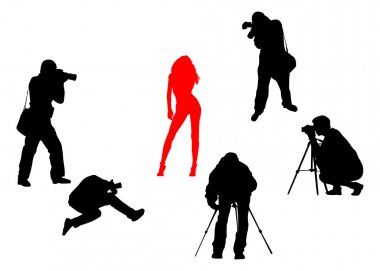 Vector Silhouettes of photographers and fashion model