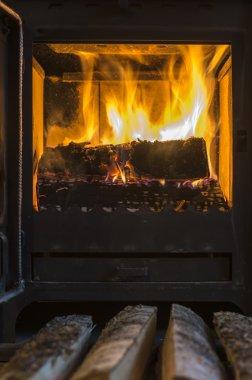 The wood in the furnace. Oven door is opened