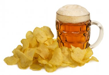 potato chips and mug of beer isolated on white background