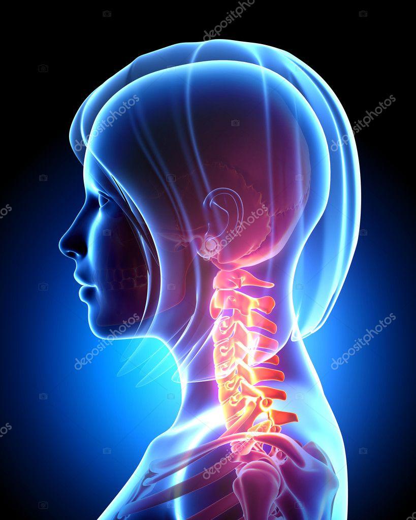dolor de cuello femenino en azul — Fotos de Stock © pixologic #13955711