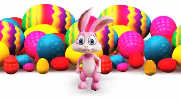 Easter rabbit running away from rolling Easter eggs