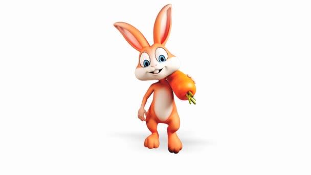 Happy rabbit with carrot