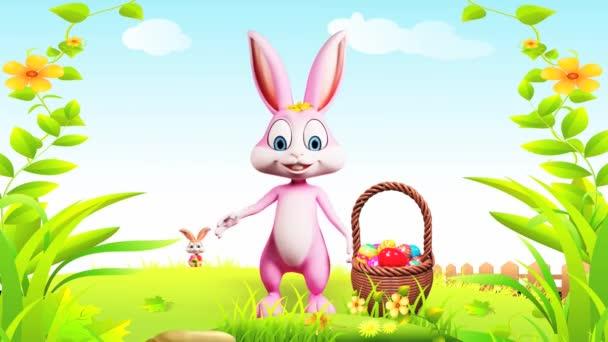 Veselé Velikonoce bunny mává