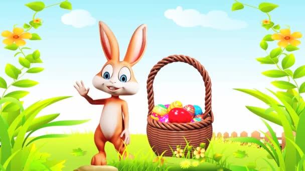 Happy easter bunny waving