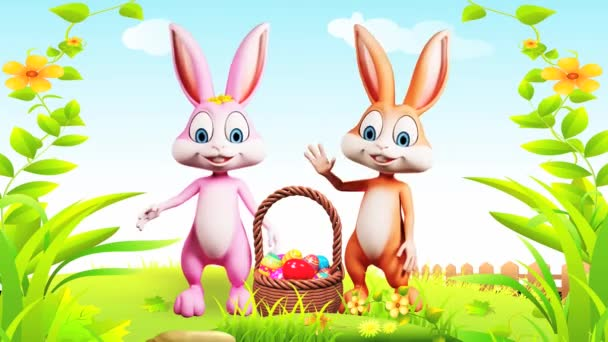 Happy easter bunnies waving