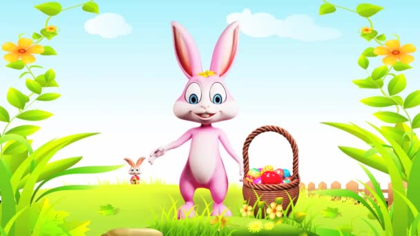 Happy easter bunny waving