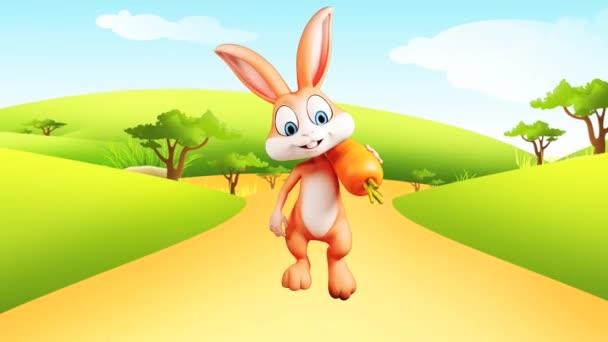 šťastný králík s mrkví