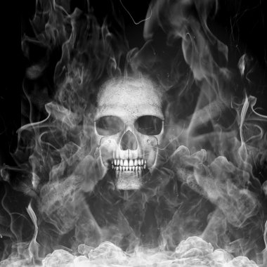 Skeleton is in smoke stock vector
