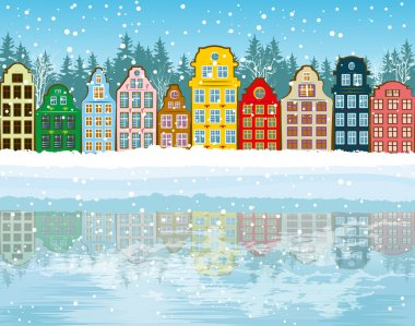 Multicolored Christmas City stock vector