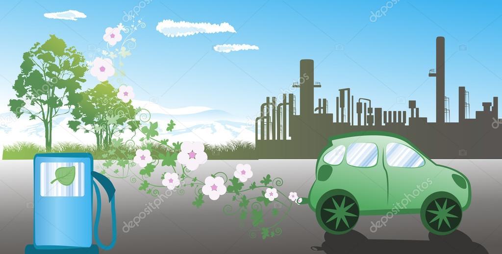 Illustration of environmentally friendly car