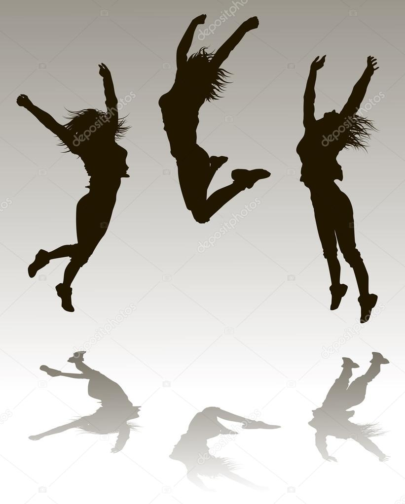 Woman jumping silhouette — Stock Vector © Portumen #15622715