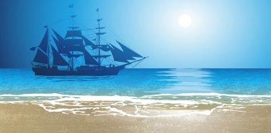 Old Ship Sailing Open Seas