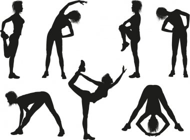 Silhouettes of a woman doing sport exercises