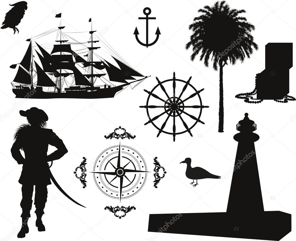 Set of Nautical Pirate pictures