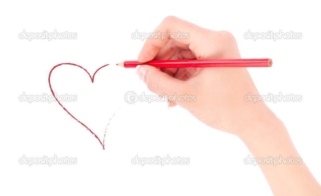 Kobiecej Dłoni Trzymał Czerwony Ołówek I Rysunek Serce
