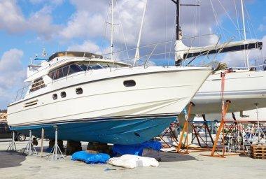 Boat repairs in a repair yard