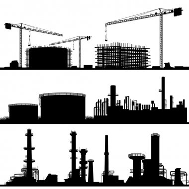 Industrial city, Construction Site, refinerie and power plant