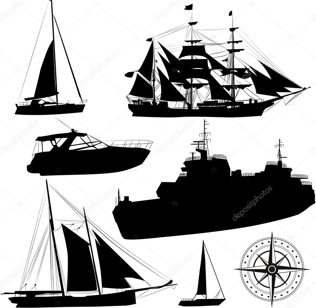 Set of vector boat silhouettes