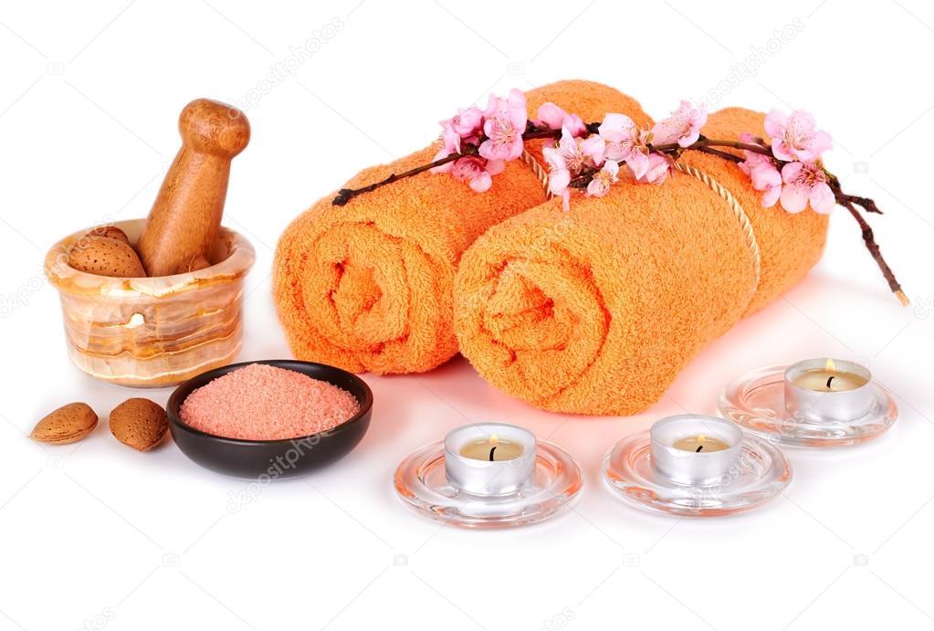 Spa wellness blumen  und Wellness-Einstellung mit Blumen, Kerzen und Handtücher ...