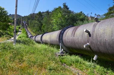 ndustrial pipe with gas and oil
