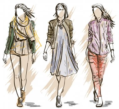 Vector Sketch of Fashion models