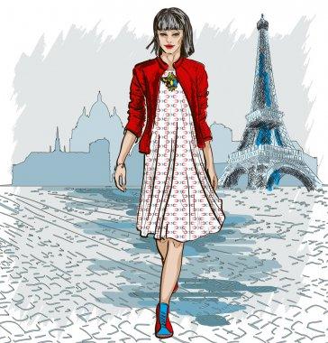 Fashion woman and Paris skyline