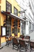 vektorové ilustrace pouliční kavárny ve starém městě