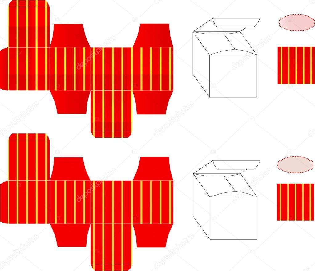 plantilla Vector de caja de regalo roja con rayas amarillas ...