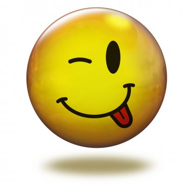 Render emoticon 3D. Winking with tongue out
