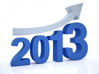 3D Render of Growth 2012 With Arrow stock vector