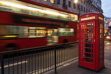 Bus and telephone box, London