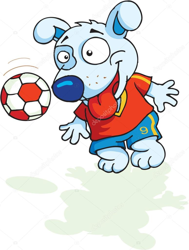 A cute dog plays football in red t-shirt — Photo by artistan 0d924765d
