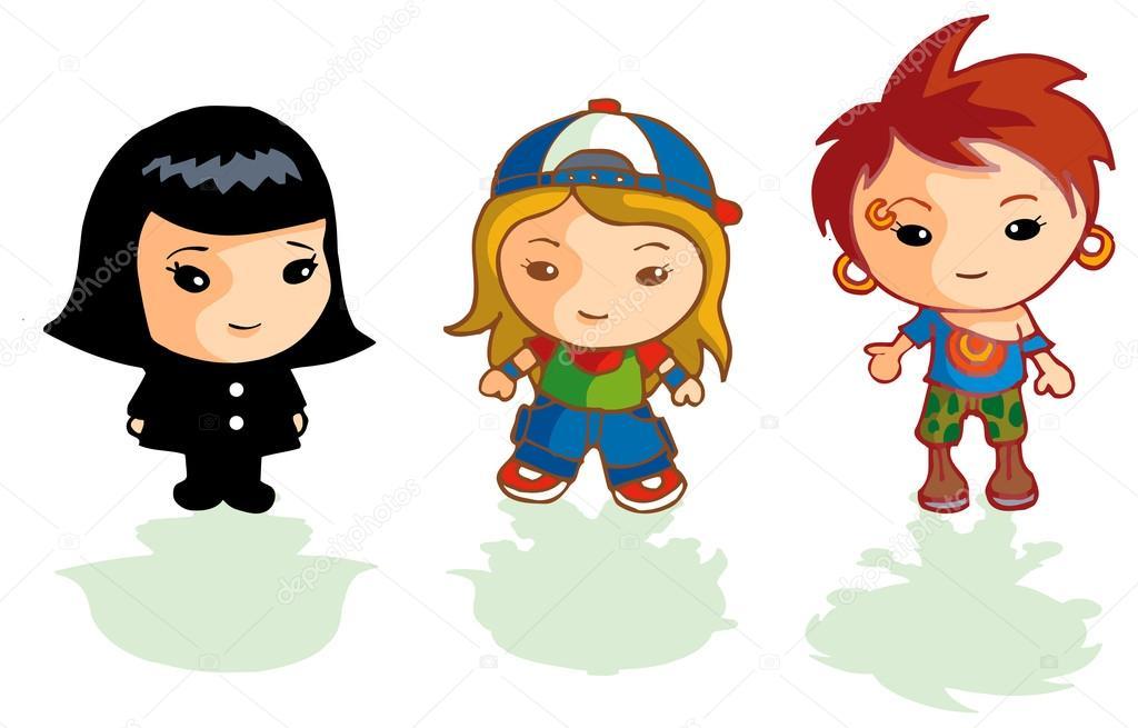 Tres personajes diferentes linda chica vestidos como diversos estilos -  dibujos  tres chicas dibujo — Foto de artistan — Foto de artistan 26731acde8e6
