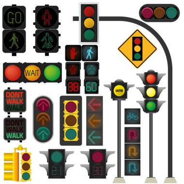 Traffic light vector collection isolate on white stock vector