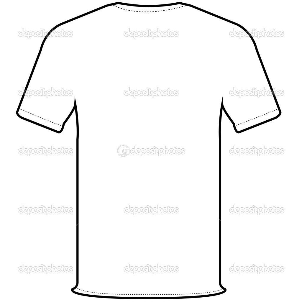 Black t shirt vector front and back - Back Side Of White T Shirt Isolate On White Vector By Attaphongw