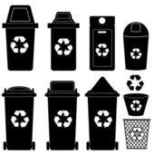 Fotografia Recycle bin silhouette vettoriali