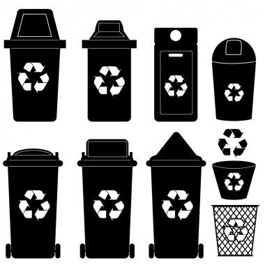 Recycle bin silhouette vector
