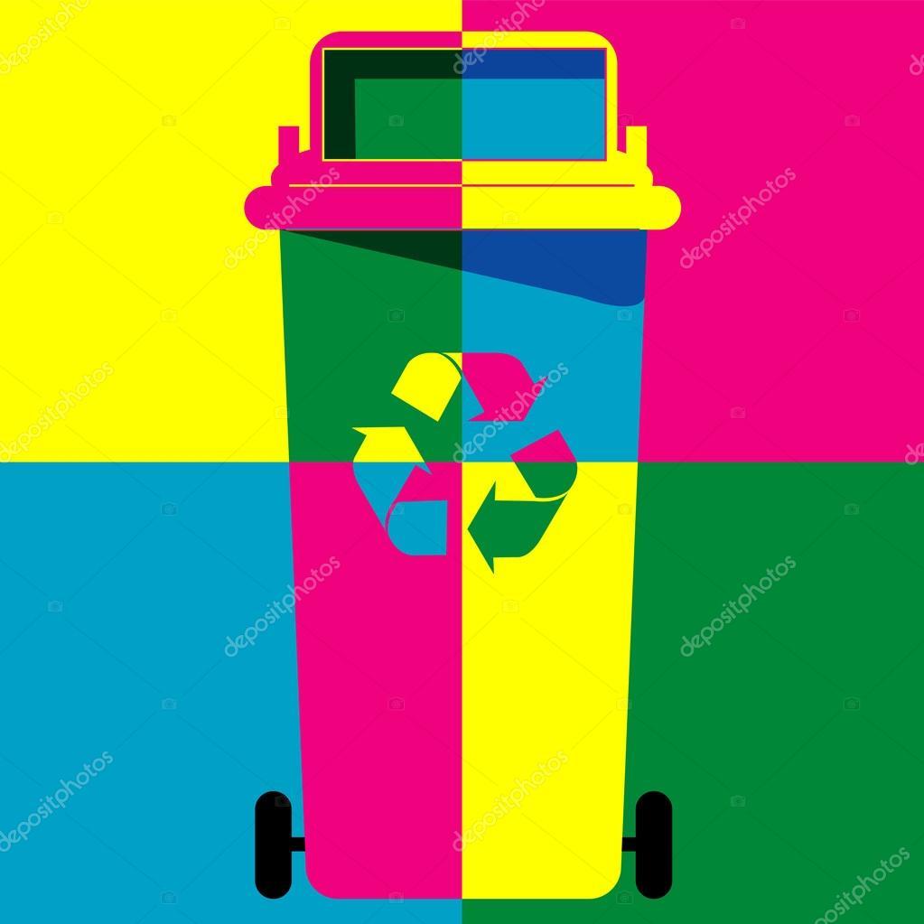 Recycle bin colour art vector