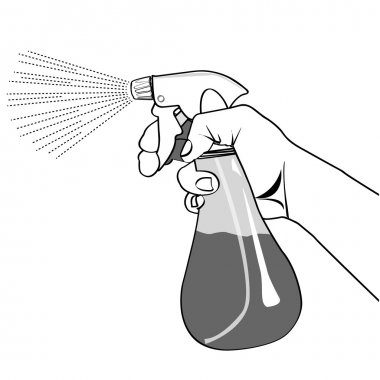 Hand holding Spray bottle outline vector