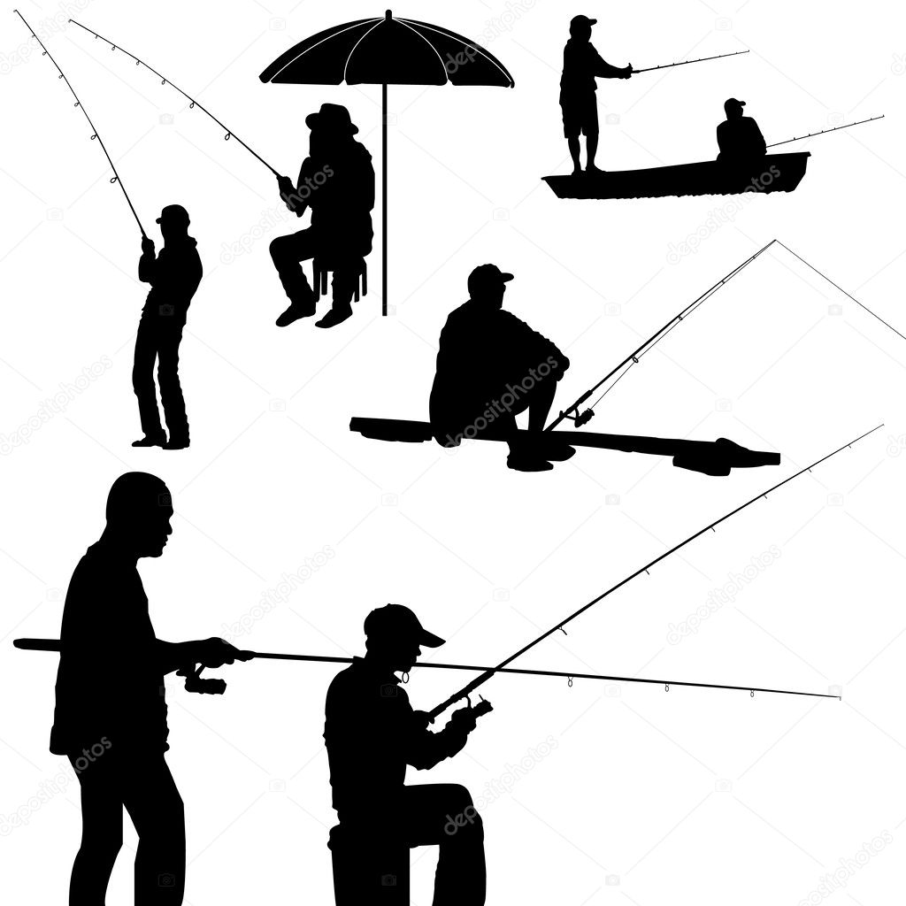 Fishing man silhouette vector — Stock Vector © attaphongw ...