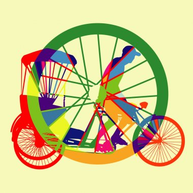 Colorful Bicycle Taxi Silhouette Vector